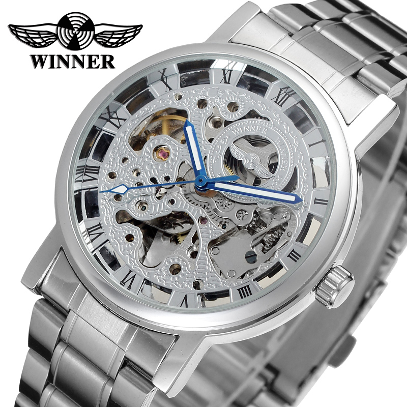 WINNER Brand Roman Number Skeleton Automatic Mechanical Watches Silver Stainless Steel Men Wristwatch Gift Box Relogio Releges fashion winner men brand roman number skeleton stainless steel watch mechanical hand wind wristwatches gift box relogio releges