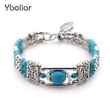 все цены на Women Turquoises Bracelet Fashion Alloy Round Beads Vintage Antique Silver Leaf Pendant Bangles Charm Jewelry онлайн