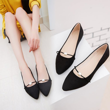Women Flats Solid Suede Pearl Casual Loafers Fashion Female Classic Fabric Pointed Toe Single Shoes Ballet Slip On Shoes Ladies