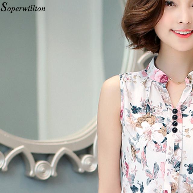 Soperwillton 2016 New Summer Women Tops Casual Sleeveless V-Neck Fashion Women Blouse Chiffon Print Blouses Big Size S-XL D02