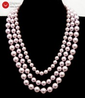 Qingmos Purple Sea Shell Pearl Necklace for Women with Round 8 12mm Sea Shell Pearl 3 Strands 17'' Chokers Necklace Silver Clasp