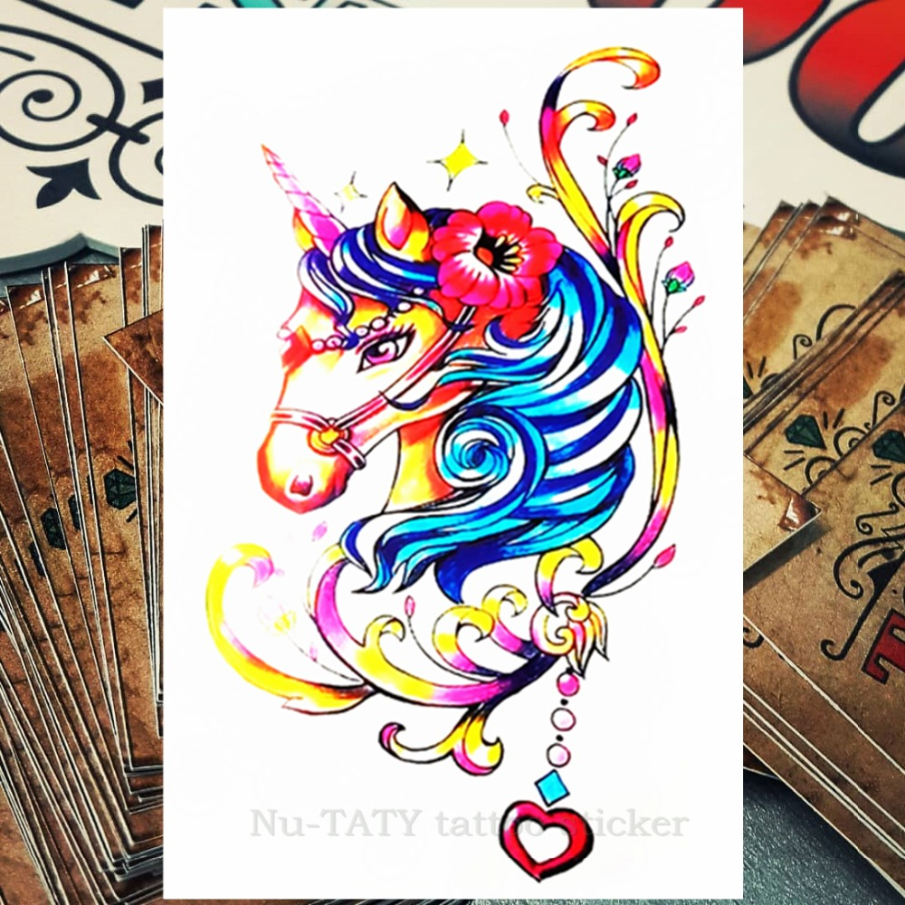 a553b9b476316 Nu-TATY Rainbow Unicorn Temporary Tattoo Body Art Flash Tattoo Stickers  12*20cm Waterproof Tatoo Styling Home Decor Sticker