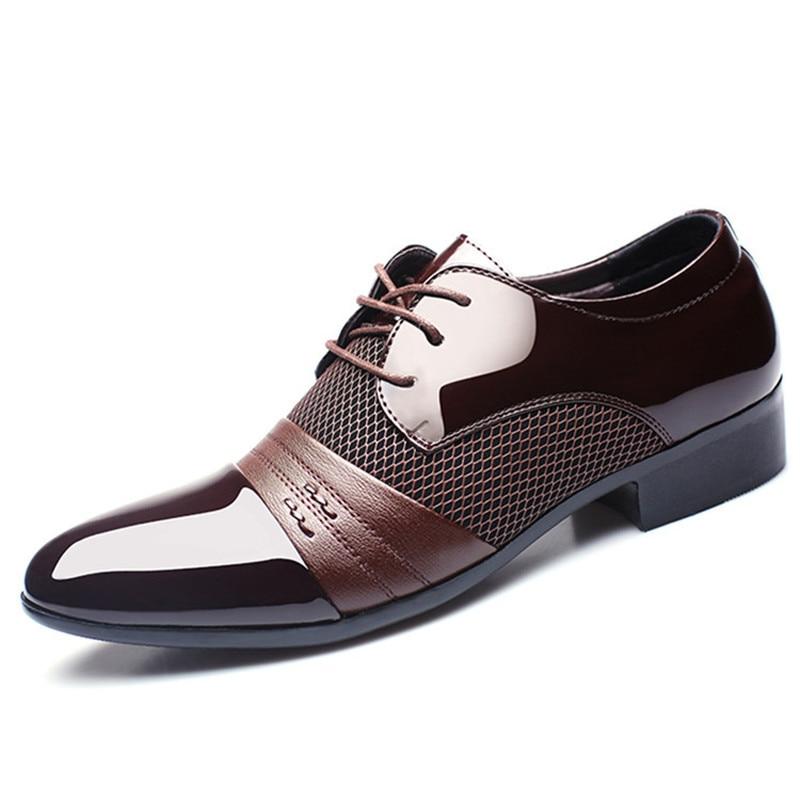 Muhuisen Men Dress Shoes Plus Size 38-48 Men Business Flat Shoes Black Brown Breathable Low Top Men Formal Office Shoes