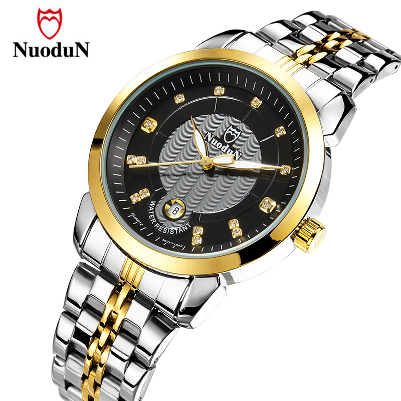 Nuodun Top Brand Men Watch Gold Stainless Steel Quartz Wristwatch Luxury Fashion Watches Male Auto Date Clock Relogio Masculino luxury brand burei men multifunctional business watches stainless steel date clock hour male quartz wristwatch relogio masculino