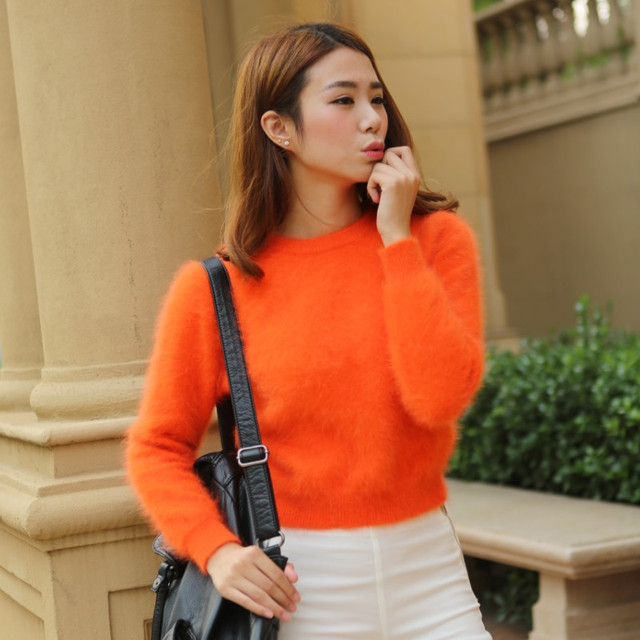 2020 Women Sweaters and pullovers Pure Mink Cashmere Knitted Pullover ladies sweater  Free Shipping TBWA645 5