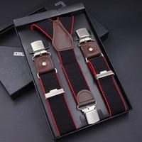 Men S Suspenders Casual 3 Clips Braces Leather Suspensorio Adjustable Belt Strap Bretelles Ligas Tirantes