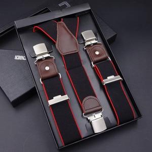 Image 1 - 63 Colors Mens Suspenders  3/6 Clips Braces Leather Suspensor Adjustable Belt Strap Bretelles Vintage Mens Suspender For Skirt