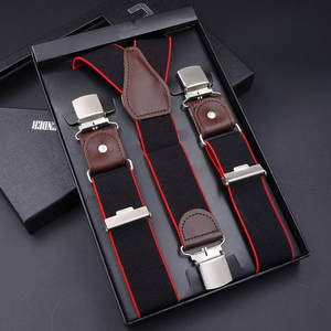 63 Colors Men's Suspenders 3/6 Clips Braces Leather Suspensor Adjustable Belt Strap Bretelles Vintage Mens Suspender For Skirt
