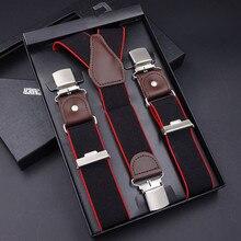 63 kolory męskie szelki 3/6 klipsy szelki skórzane szelki regulowany pasek pasek Bretelles Vintage męskie pończochy do spódnicy