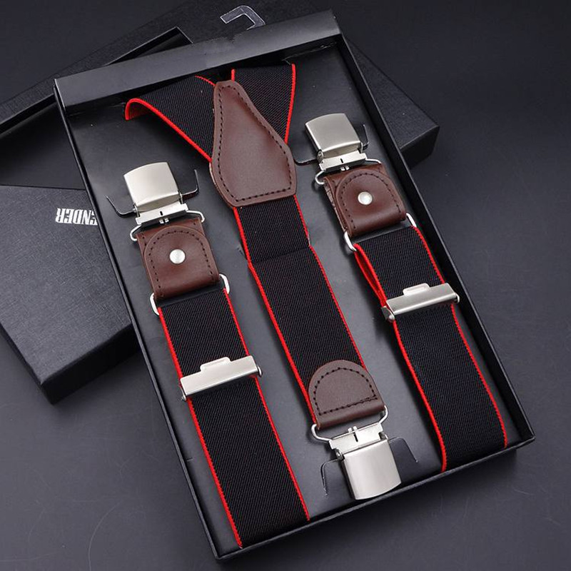 Men's Suspenders Casual 3 / 6 Clips Braces Leather Suspensor Adjustable Belt Strap Bretelles Vintage Mens Suspender For Skirt