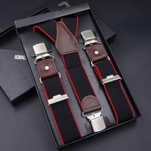 Mens suspenders casual 3 clips braces leather suspensorio Adjustable Belt Strap bretelles ligas Tirantes