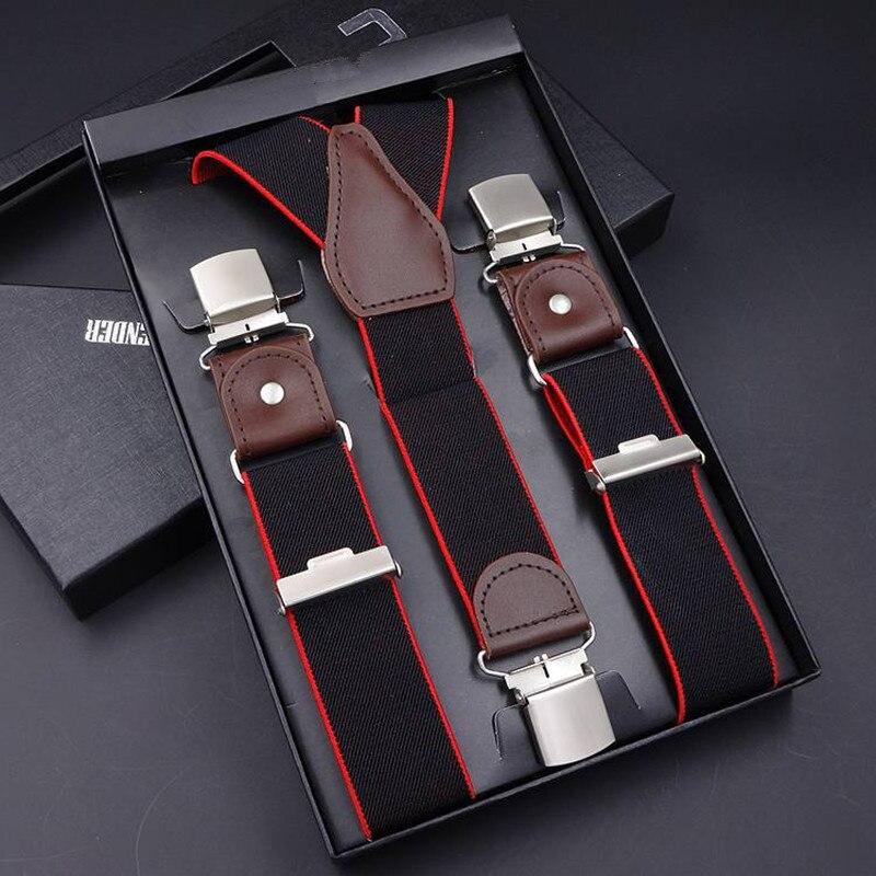 Mens Suspenders Casual 3 / 6 Clips Braces Leather Suspensor Adjustable Belt Strap Bretelles Vintage Mens Suspender For Skirt