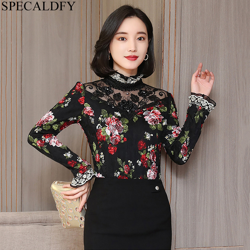 2019 Spring Vintage Lace Blouse Womens Tops And Blouses ...