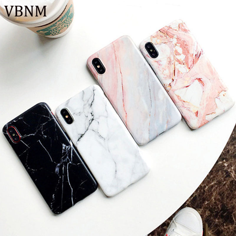 VBNM Marble Case For Iphone 7 Case Cover Silicone TPU Matte Cover Cases For Iphone 8 7 Plus X 6 6S Plus Luxury Case Fundas Capa flexible plastic bumper frame case for iphone 6 4 7 black grey white