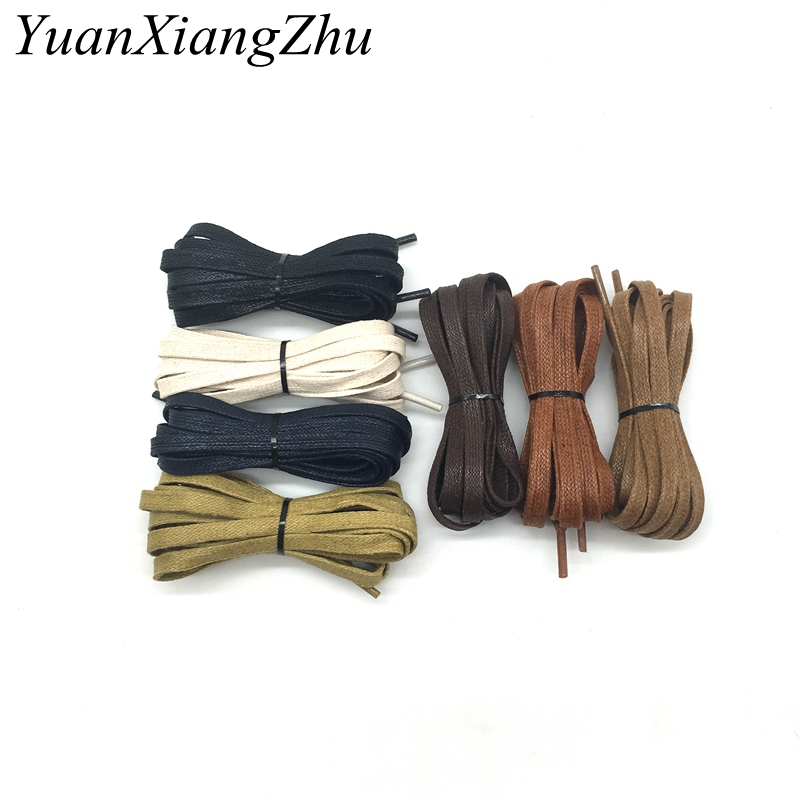 1 Pair Brand Wax Waterproof Shoelace Cotton Cord Flat Shape Shoelaces High Top Casual Leather Boot Shoe Laces Fashion P-3
