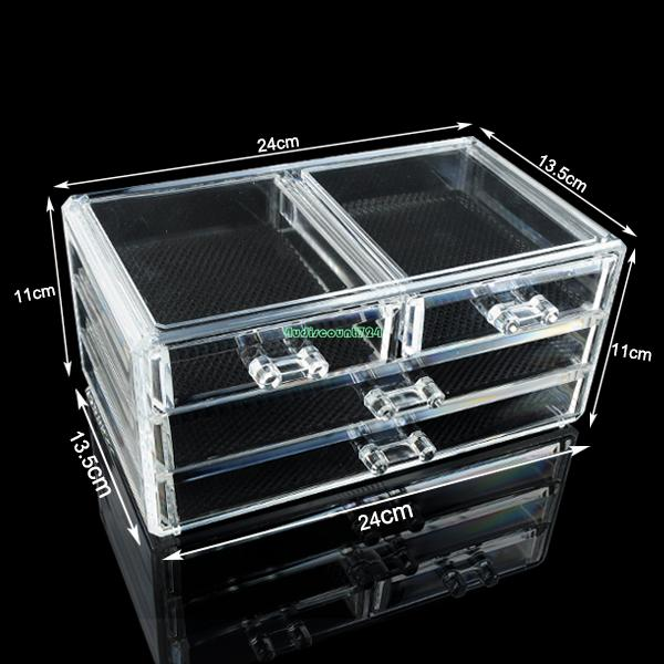 Drawers Cosmetic Organizer Clear Acrylic Jewellery Box Makeup Storage Case Eqc Acrylic Makeup Organizer In Jewelry Packaging Display From Jewelry