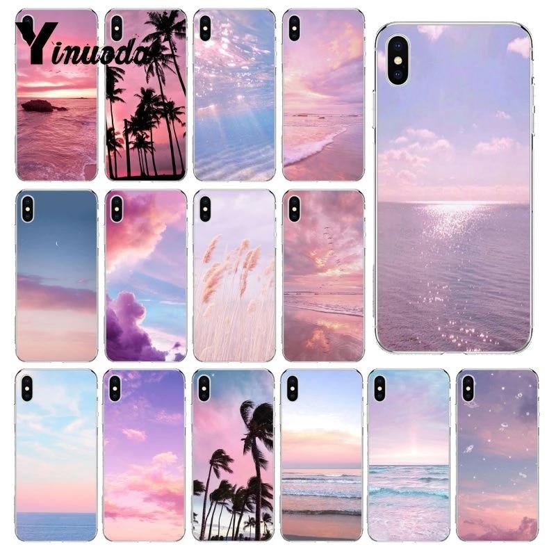Yinuoda rose mignon kawaii ciel espace coucher de soleil nuage Art Coque Coque pour iphone SE 2020 8 7 6 6S Plus X XS MAX 5S SE XR 10