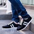 2017 Новая Коллекция Весна Лето Мужчины Холст Повседневная Мода Дышащая Любителей Обувь Черный/Blue Lace-Up Плоские Туфли Плюс размер 44