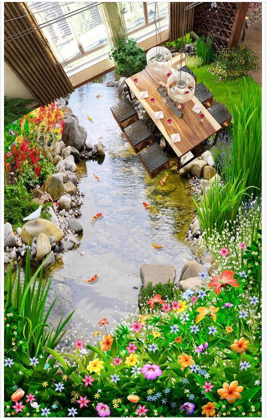 Garden Floor River Water 3D Dimensional Painting Draw Custom Photo Self  Adhesive 3D Floor Waterproof Floor Mural Painting  In Wallpapers From Home  ...
