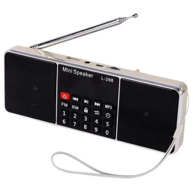 L-288 portátil Mini altavoz de Radio FM estéreo reproductor de música con TFCard disco USB pantalla LCD Control de volumen recargable altavoz