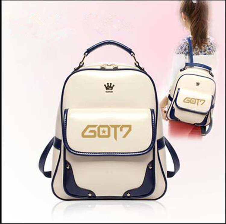 Strong-Willed Kpop 2016 Got7 Fashion Korea Imperial Crown Mark Got7 Logo Pu Students Canvas Shoulder Mountaineering Tourism K-pop