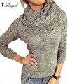 Design de botão 2017 Primavera Oco Fora Mulheres Sólidos Blusas Lenço Gola Casual Magro Tops Camisola Do Natal Outfit Pulôver