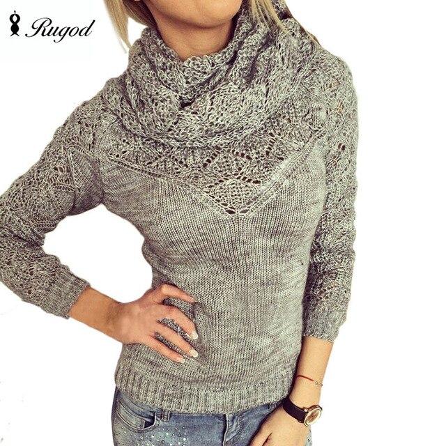 Diseño de botón 2018 primavera ahueca hacia fuera sólido mujeres suéteres  bufanda cuello de tortuga Casual e22c606eec5f
