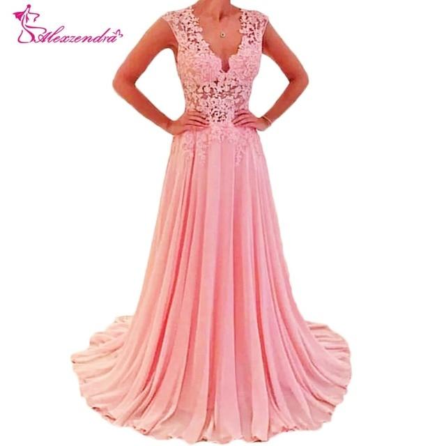 Alexzendra V Neck Chiffon Long Formal Evening Dress Lace Illusion Back Prom  Dress Party Gowns 32743d853013