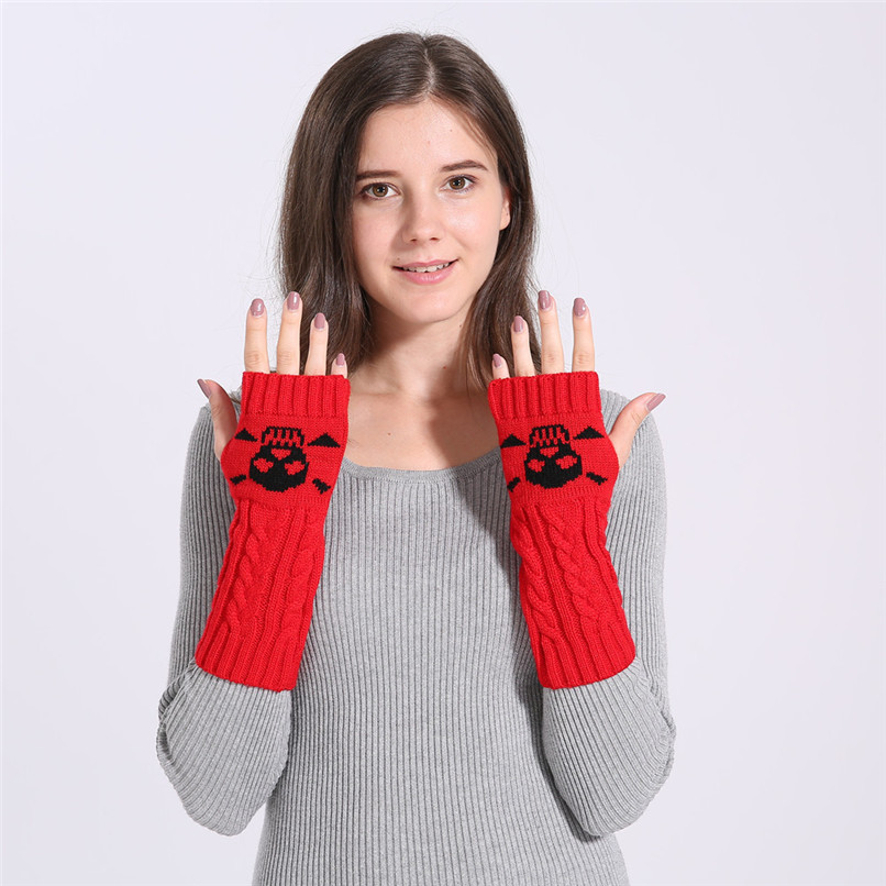 Mittens Womens Free Knitting Woman Winter Warm Knitted Long Twist Plus Thick Half Finger Gloves Mittens 30SP32