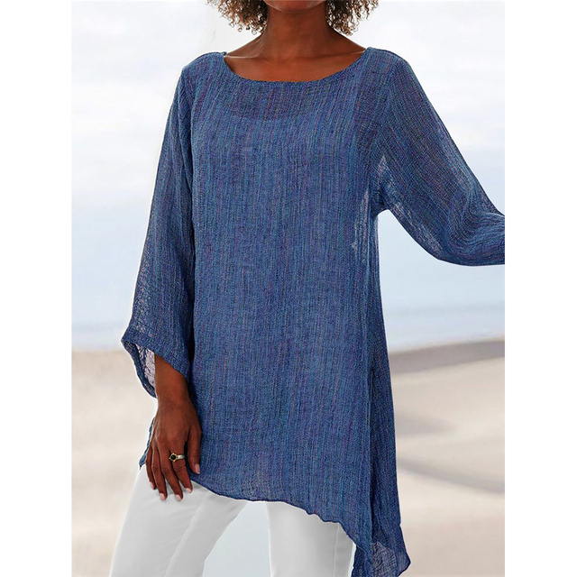 Solid Linen Womens Tops and Blouses Plus Size Long Sleeve Sleeve Anomalistic Tunic O-Neck Loose Summer Blouse Women Clothes 2019