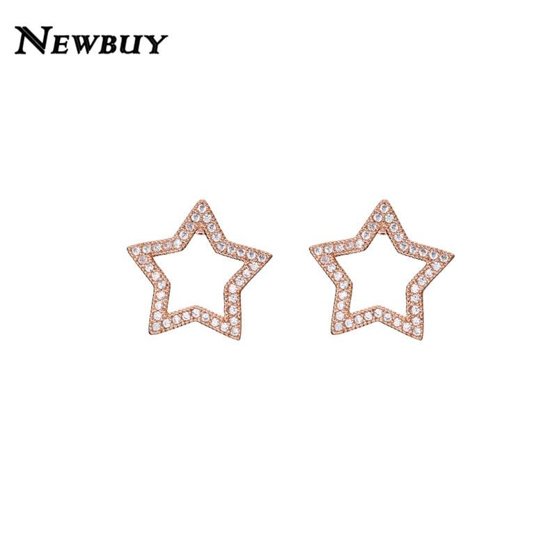 Newbuy 2019 Trendy Rose Gold/weiß Gold Farbe Stud Ohrringe Für Frauen Mädchen Mode Stern Zirkonia Ohrring Schmuck Großhandel Spezieller Kauf