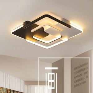 Image 4 - Lustre żyrandol oświetlenie LED salon sypialnia żyrandol z falą kwadratową biały czarny Lustre Avize żyrandole