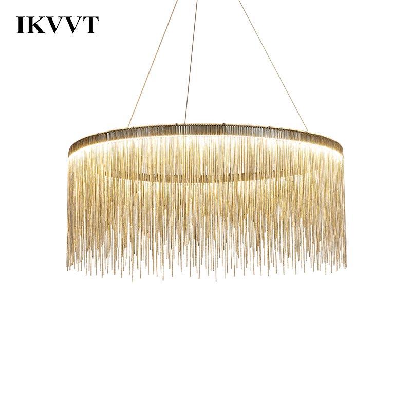 IKVVT Luxury Pendant Lights Golden Silver Round Tassels Lamp Aluminum Metal Body For Living Room Hotel Modern Home Lamps
