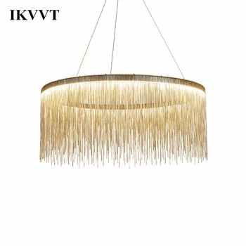 IKVVT Luxury Pendant Lights Golden Silver Round Tassels Lamp Aluminum Metal Body For Living Room Hotel Modern Home Lamps - DISCOUNT ITEM  40% OFF All Category