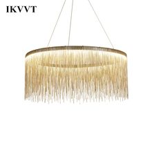 IKVVT יוקרה אורות תליון זהב כסף עגול גדילים מנורת אלומיניום מתכת גוף לסלון מלון מודרני בית מנורות