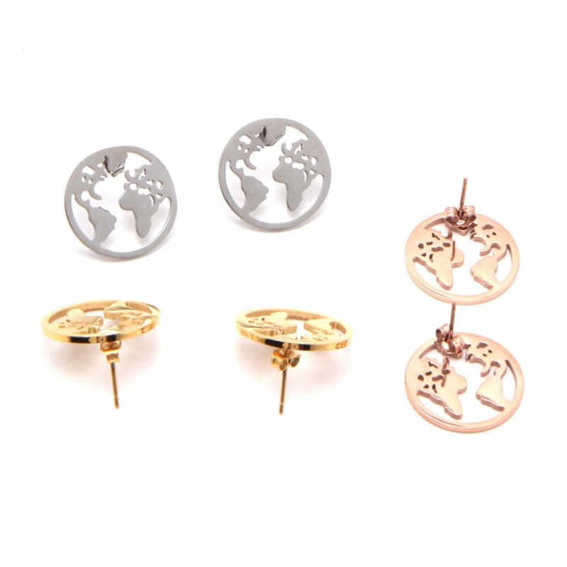 Fashion Jewelry Map Earrings for Women World Map Stainless Steel Stud Earring Cute Mini Globe Earth Wedding Party Gift Earrings