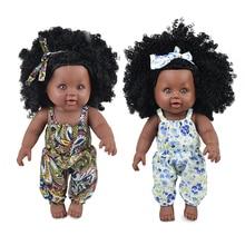 цены Fashion  African Baby Dolls Black Realistic Lovely lol Reborn Baby Lady Dolls Soft Silicone Vinyl 30cm Baby Girl Toy With Cloths