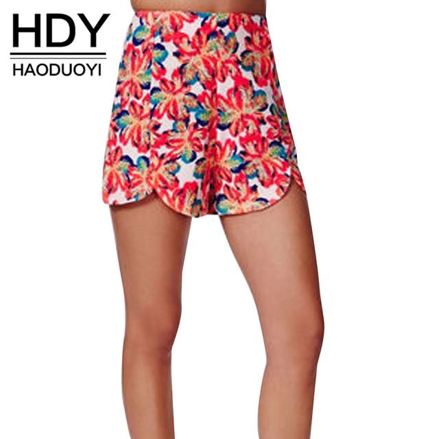 HDY Haoduoyi Многоцветный Мода Женщины Шорты Высокой Талией Прямые Высокие Низкие Шорты Женщины Цветочный Печати Тонкий Вскользь Шорты