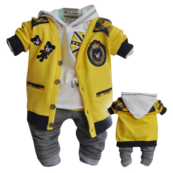 Anlencool Free shipping baby clothes set upscale European version of the three-piece cotton hooded cardigan Cubsbaby clothing
