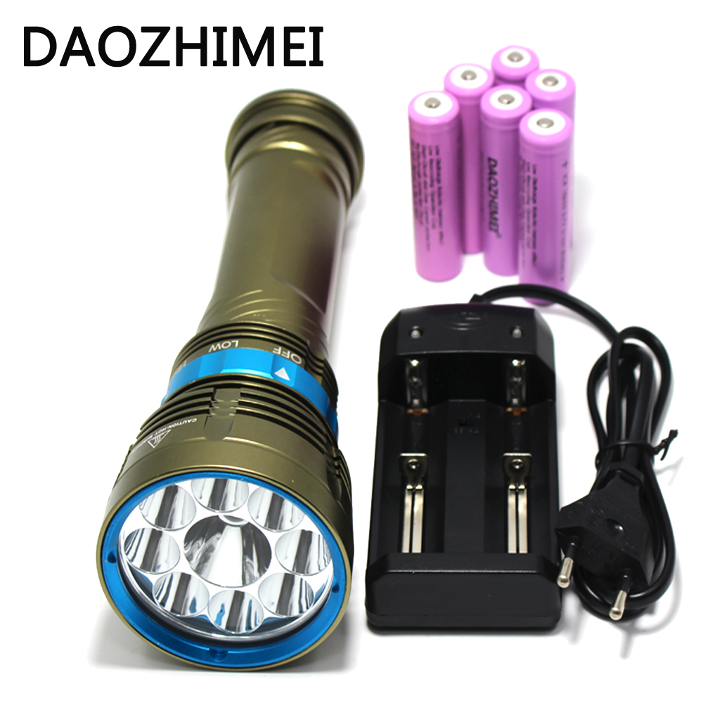 LED Diving Flashlight 9 X XM-L2 Torch 200M Underwater Waterproof LED Flash Light Lantern+4 * 18650 battery / charger thin lizzy thin lizzy nightlife