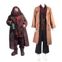 Взрослых Для мужчин Rubeus Хагрид Костюмы для косплея коричневый пальто форма полный костюм костюмы на Хэллоуин