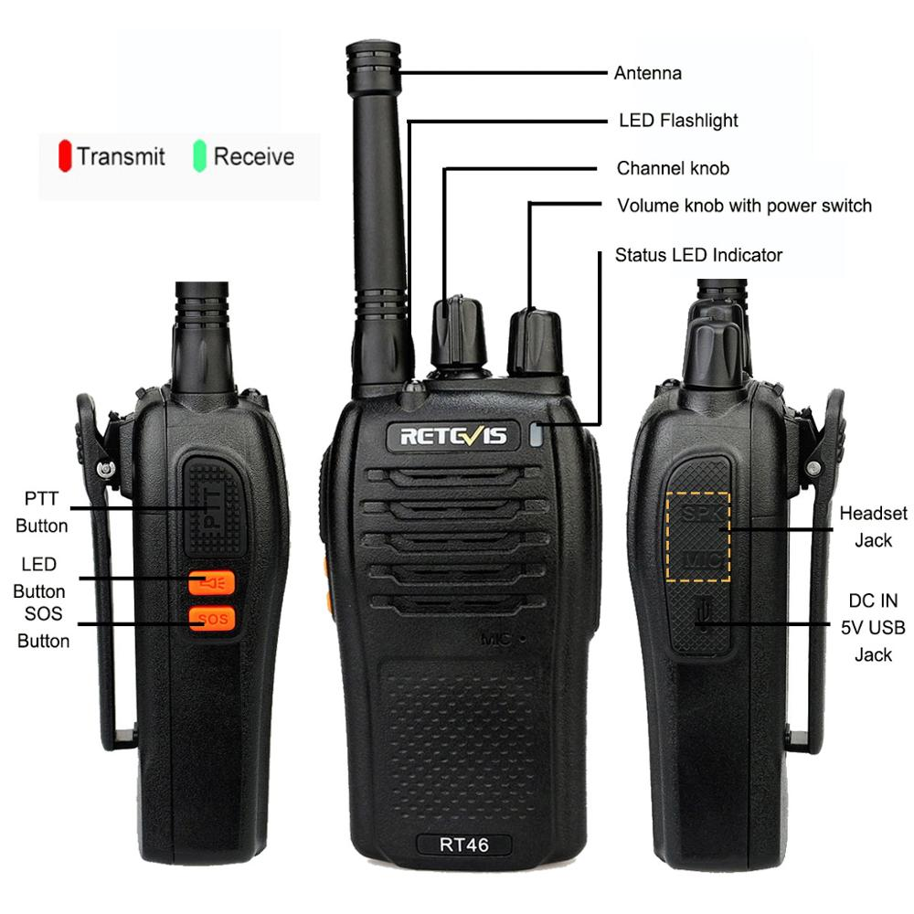 Image 4 - A Pair RETEVIS RT46 Walkie Talkie PMR Radio PMR446/FRS Portable Two Way Radio VOX Micro USB Charging  Li ion (or AA) Battery-in Walkie Talkie from Cellphones & Telecommunications