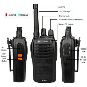 Image 5 - A Pair RETEVIS RT46 Walkie Talkie PMR Radio PMR446/FRS Portable Two Way Radio VOX Micro USB Charging  Li ion (or AA) Battery