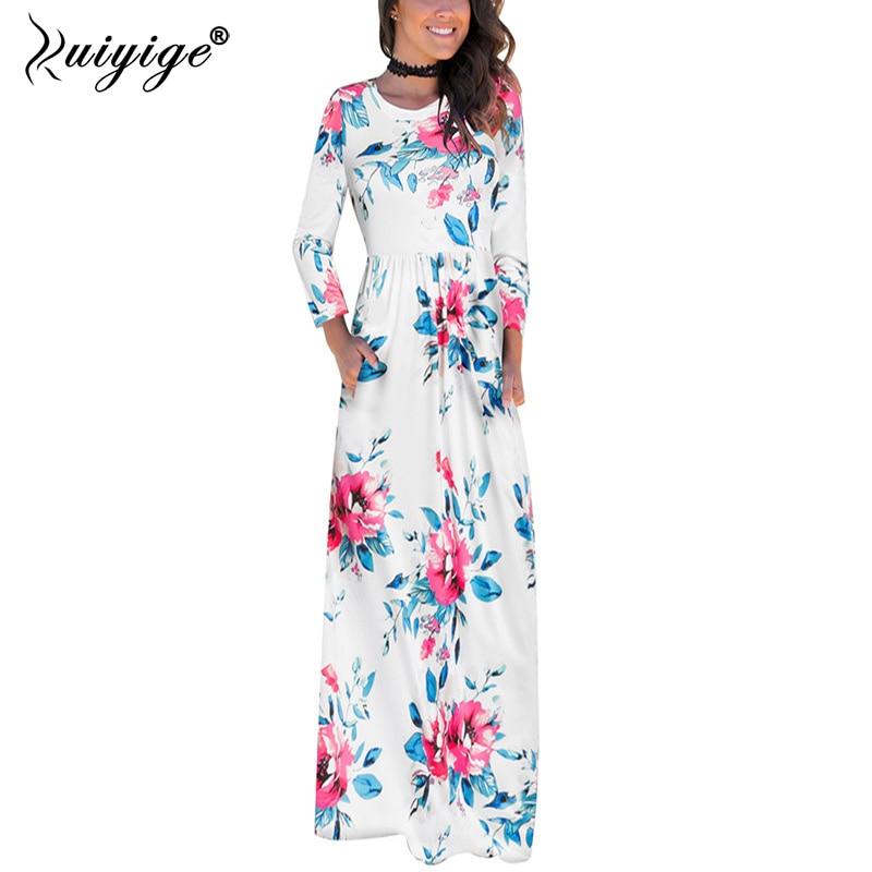 Ruiyige Boho Pockets Women Maxi Dress O Neck High Waist Print Floral Dresses Long Sleeve Fall Autumn Travel Retro Tunic Vestidos