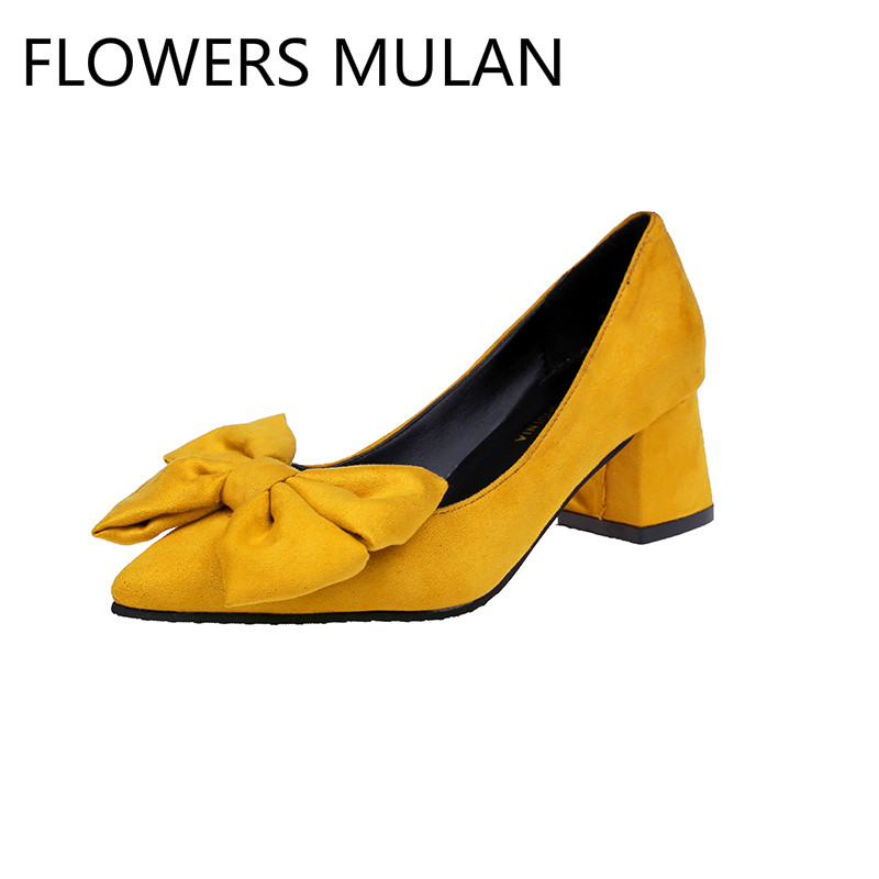 Spring Autumn Pumps Shoes Med High Heel Pointed Toe Chunky Square Heel Slip On Pumps With Big Bow Sweet Women ShoesSpring Autumn Pumps Shoes Med High Heel Pointed Toe Chunky Square Heel Slip On Pumps With Big Bow Sweet Women Shoes