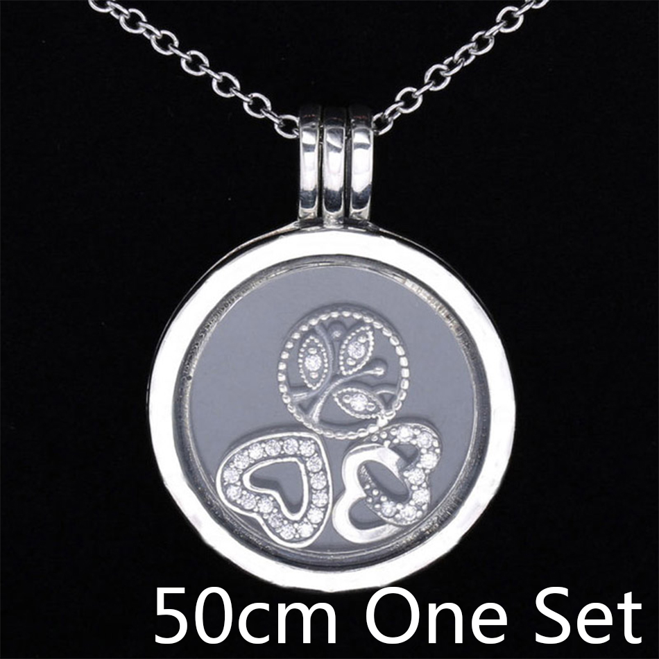 S925 Sterling Silver Necklace Love Heart & Family Petites Charm Locket Necklace For Women Wedding Gift fit Lady Fine Jewelry vintage heart shape locket necklace for women