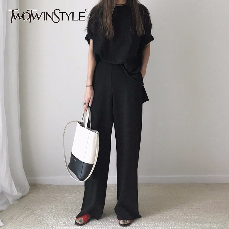 TWOTWINSTYLE Casual Women Two Piece Set Short Sleeve T-shirt Tops Elastic High Waist Wide Leg Pants Suits Korean 2018 Summer
