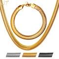 U7 8mm serpiente collar de cadena de sistemas de la joyería de moda chapado en oro pulsera de acero inoxidable fijó al por mayor s844