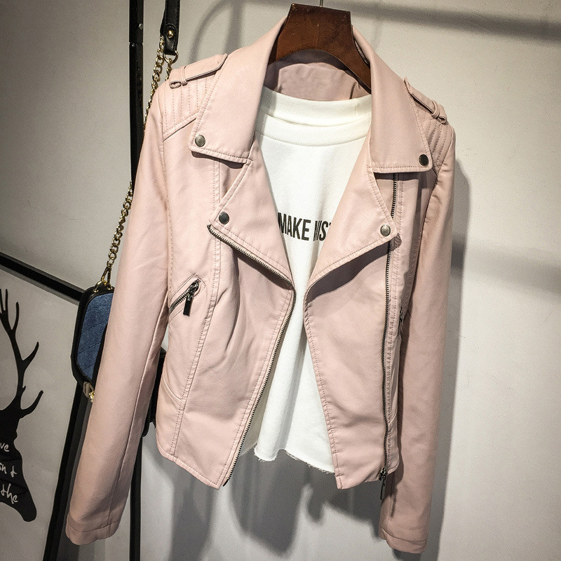 Female 2019 New Design Spring Autumn PU   Leather   Jacket Faux Soft   Leather   Coat Black Rivet Zipper Motorcycle Pink Jackets C4137