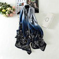 180x90 Women Pure Silk Scarf Digital Print Brand Big size Shawl Luxury Brand Long Soft Foulard New Lace Plaid Designs